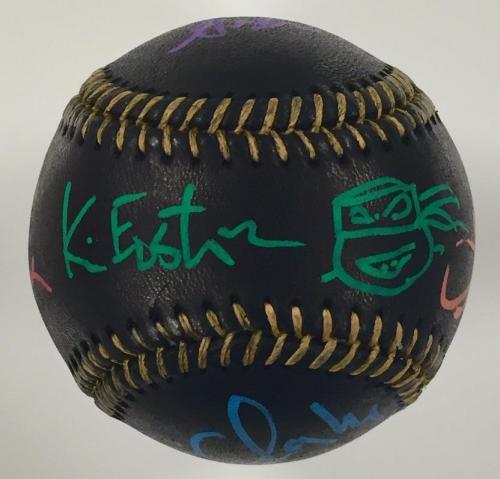 Teenage Mutant Ninja Turtles TMNT Cast Signed Black Baseball w/ Beckett BAS COA