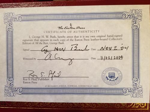 George H W Bush Signed Easton Press Book All The Best Leatherbound!!