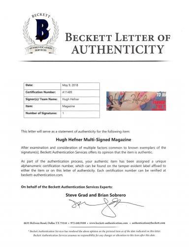 Hugh Hefner Signed Playboy Magazine February 2002 BAS #A11489