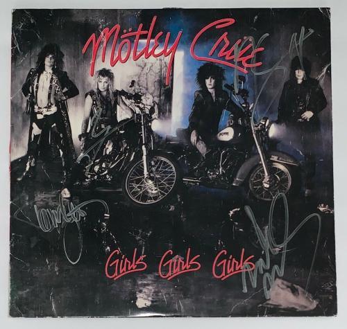 Motley Crue X4 Tommy Lee Nikki Mick & Vince Signed Girls, Girls, Girls Psa Loa