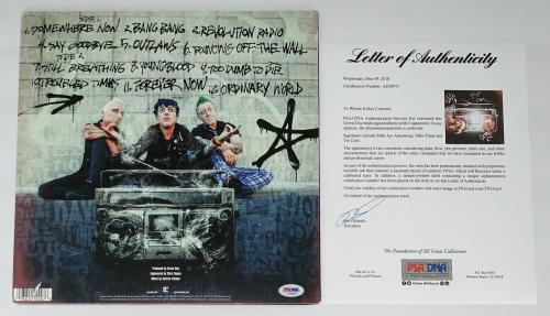 Green Day Billie Joe Armstrong Mike Dirnt & Tre Cool Signed Revolution Radio Psa