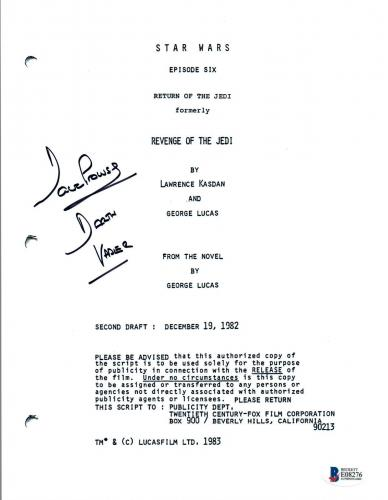 David Prowse Signed Autographed STAR WARS RETURN OF THE JEDI Script BAS COA