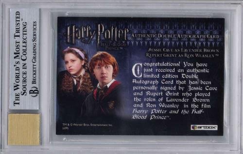 2009 Harry Potter Grint Cave Dual Signed Half-Blood Prince Auto Card BGS 9 10