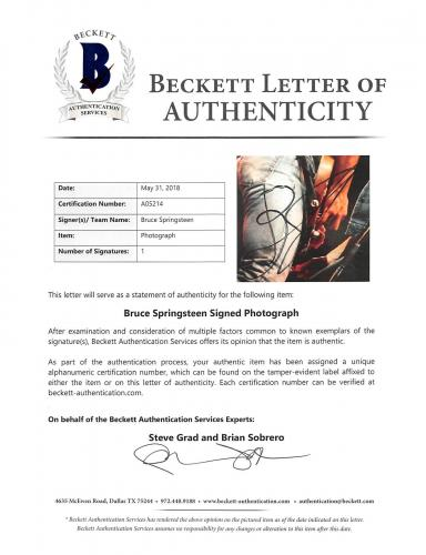 Bruce Springsteen Signed 11x14 Photo w/ Patti Scialfi BAS #A05214