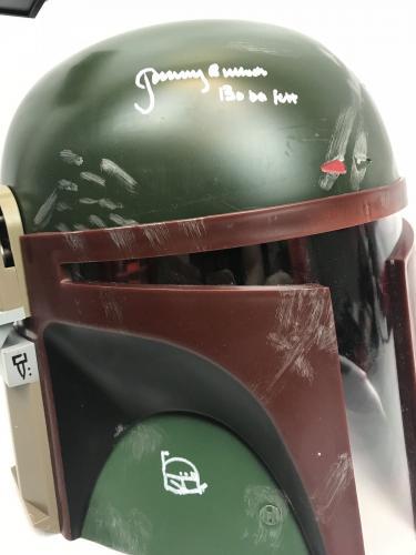 Jeremy Bulloch Signed Full Size Wars Boba Fett Helmet Sketch BAS COA