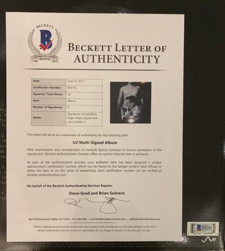 U2 Autographed Album signed by 4 RARE bono edge larry adam Beckett BAS COA [psa]