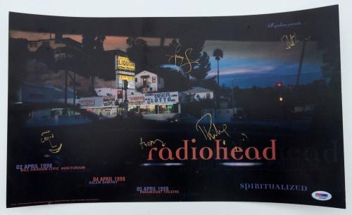 Radiohead X5 Thom Yorke Jonny Colin Philip & Ed Signed April 1998 Poster Psa Loa