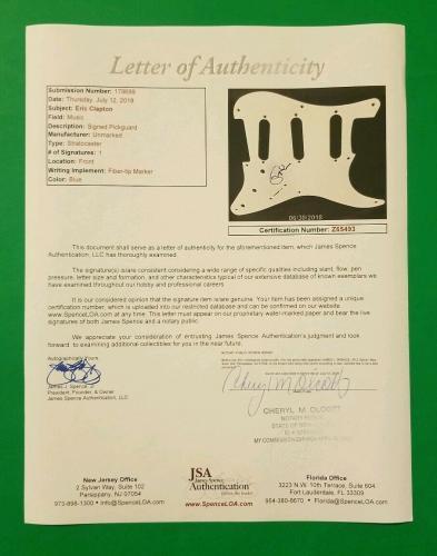 Rare - Eric Clapton Signed Fender Stratocaster Guitar Pickguard With Jsa Coa Loa