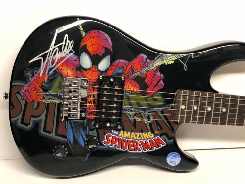 Stan Lee Signed Marvel Spider-Man Peavy Electric Guitar Stan Lee Hologram