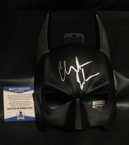 Dc Christian Bale The Dark Knight Signed Auto Batman Mask Bas Beckett Coa 9