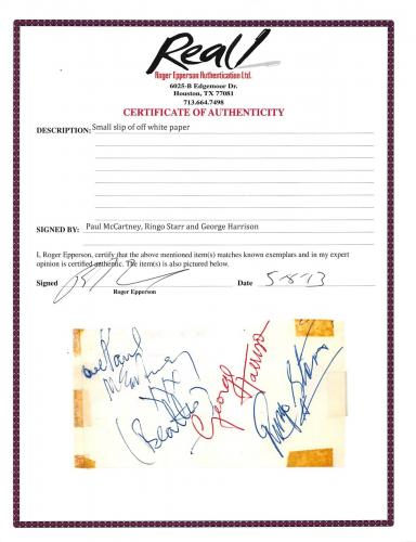 Beatles (3) McCartney, Harrison & Starr Signed 2.3x4.5 Cut Signature BAS #A81034