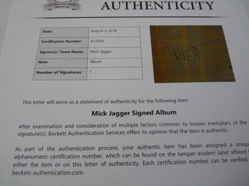 Rolling Stones Mick Jagger Signed Autographed LP Record Sleeve Beckett Certified
