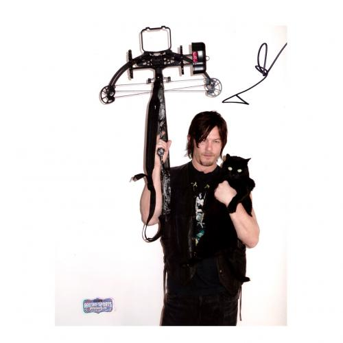 "Norman Reedus Signed The Walking Dead 8x10 Photo ""Daryl"" With Crossbow and Cat"
