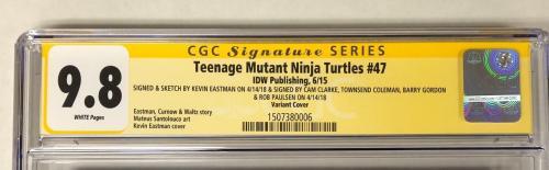Teenage Mutant Ninja Turtles #47 Cast Signed Comic Eastman Fraley 9.8 Cgc Series
