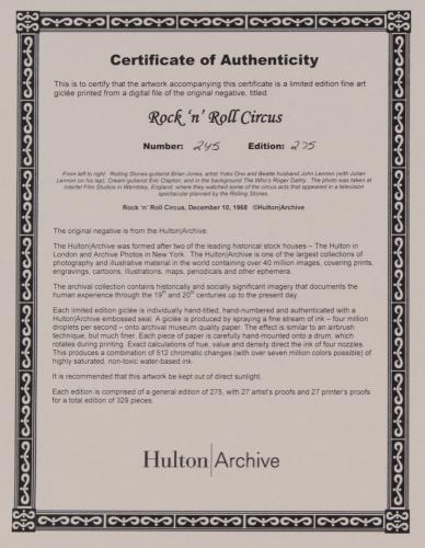 LENNON CLAPTON DALTREY HULTON ARCHIVE ROLLING STONES R&R CIRCUS 17x22 ART GICLEE
