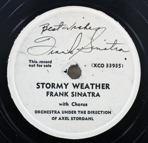 "Frank Sinatra ""Best Wishes"" Signed Vintage Stormy Weather Vinyl BAS #A76329"