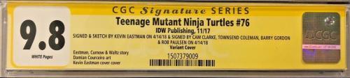 Tmnt #76 Cast Signed Comic Eastman Clarke Gordon Cgc Sig Series Autograph 9.8 O