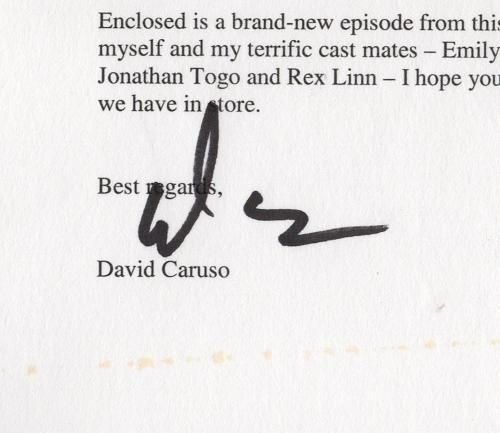 David Caruso signed autographed letter! RARE! Beckett BAS COA! 1917