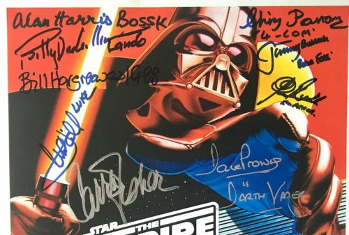 Star Wars cast signed poster esb harrison ford carrie fisher mark hamill psa dna