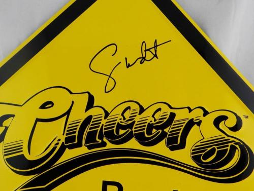 Wendt & Ratzenberger Autographed Cheers Metal Sign - Beckett Auth *Black