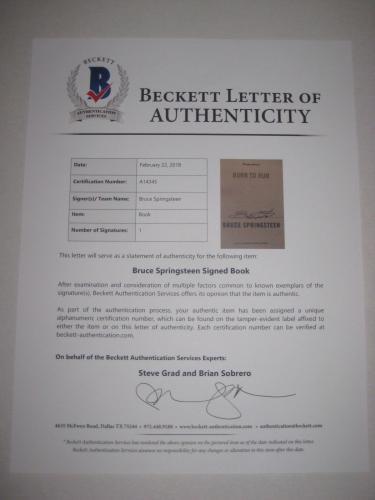 BRUCE SPRINGSTEEN Signed BORN TO RUN Book w/ Beckett LOA
