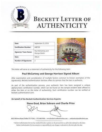 Paul McCartney George Martin Signed Beatles Magical Mystery Tour Album Beckett B