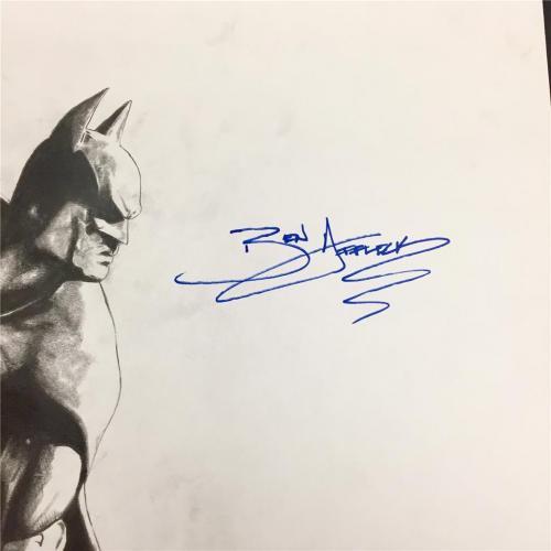 BEN AFFLECK Autograph Signed original 1/1 BATMAN Pencil Sketch ~ Beckett BAS COA
