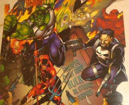 1995 Marvel Edge Huge Promo Comic Advertisement Display Hulk Daredevil Punisher