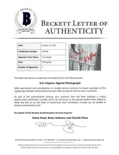 Eric Clapton Signed 8.5x11.75 Program Page Autographed BAS #A79358