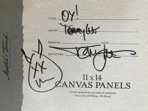 TOMMY LEE SIGNED 11x14 ORIGINAL DRAWING ON AN ART CANVAS     MOTLEY CRUE     JSA