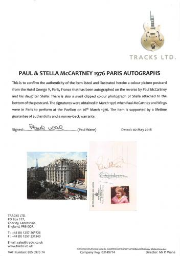 Paul McCartney & Stella McCartney Signed 4x6 Postcard BAS Slabbed