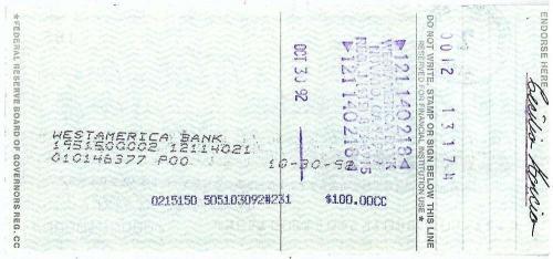 Grateful Dead Jerry Garcia Signed Cecelia Garcia Hand Written Check Beckett BAS