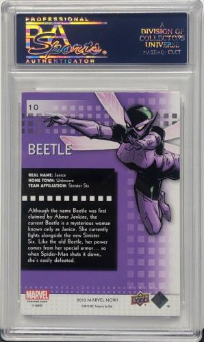 Stan Lee Signed 2014 'Beetle' Marvel Now Upper Deck Trading Card PSA 83583106