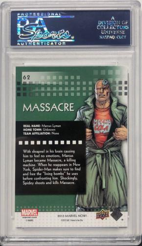 Stan Lee Signed 2014 'Massacre' Marvel Now Upper Deck Trading Card PSA 83583330