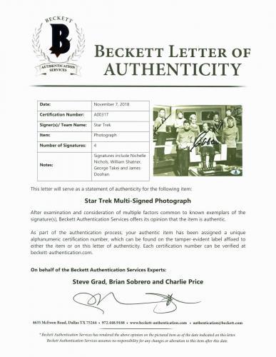 Star Trek (4) Shatner, Nichols, Takei +1 Signed 8x10 Vintage Photo BAS #A00317