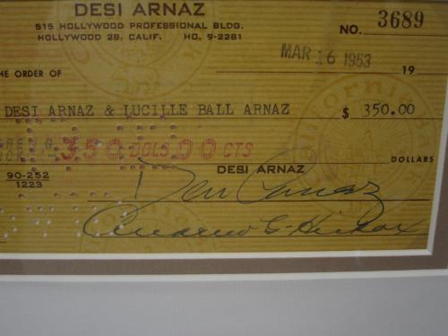 LUCILLE BALL & DESI ARNAZ 'I Love Lucy' Signed Matted Framed Bank Checks JSA LoA
