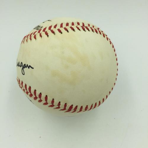Beautiful President Ronald Reagan 1984 Single Signed Baseball With JSA COA