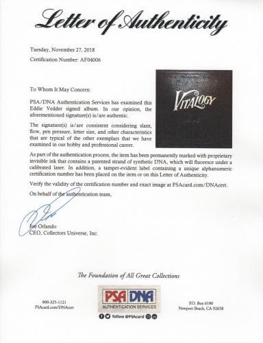 Eddie Vedder Signed Pearl Jam Vitalogy Record Album Psa Loa Af04006