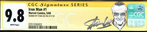 Iron Man #1 Cgc 9.8 White Ss Stan Lee Origin Of Iron Man Retold Cgc #0351036002