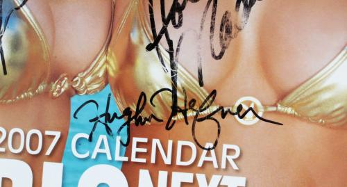 Hugh Hefner Signed Calendar Girls Next Door – COA JSA