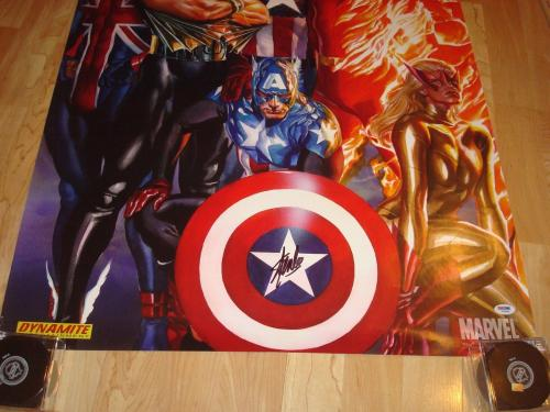 Stan Lee Signed Marvel Invaders 24x36 Poster Autographed PSA/DNA Sticker Only 1A