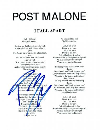 Post Malone Signed Autographed I FALL APART Song Lyric Sheet Proof + COA R