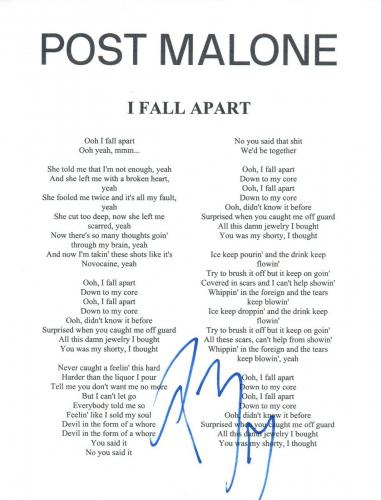 Post Malone Signed Autographed I FALL APART Song Lyric Sheet Proof + COA