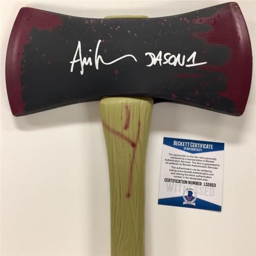 "ARI LEHMAN signed Friday the 13th ""JASON 1"" Axe ~ Beckett Witnessed BAS COA"