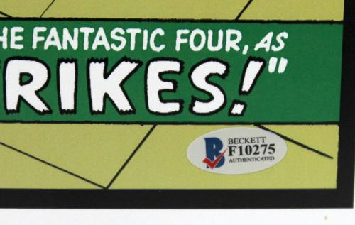 Stan Lee Signed Marvel Spider-man Fantastic Four 11x17 Print Beckett Bas F10275