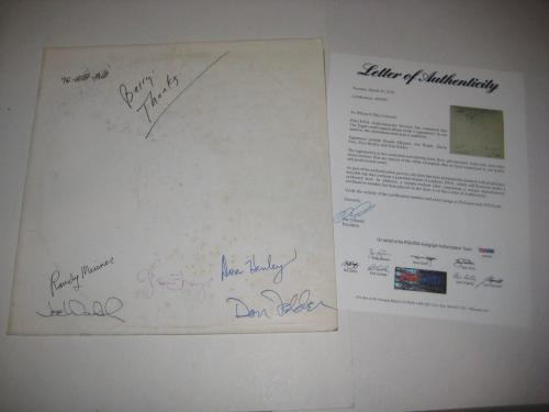 The EAGLES Group Signed HOTEL CALIFORNIA Test Pressing Album Cover w/ PSA LOA