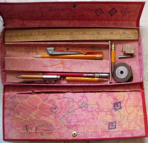 """RARE! Circa 1930's """"The Champion"""" Pencil/School Box w/Images of Ruth, Grange,+++"""
