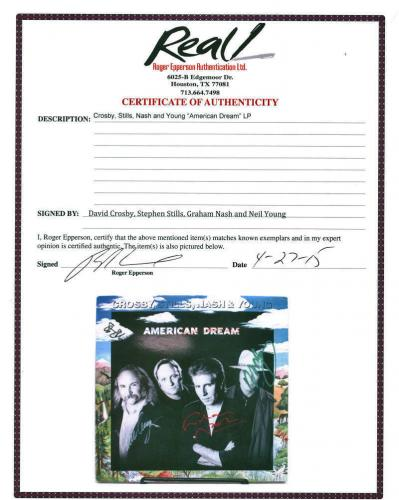 CSNY Crosby Stills Nash Young Signed Autographed Album JSA