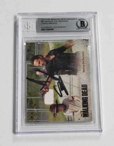 Andrew Lincoln Chandler Riggs Auto'd 2014 The Walking Dead Card #37 Bas Coa Rick