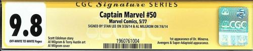 CAPTAIN MARVEL #50 CGC 9.8 OWW 1ST APP DOC MINERVA SS 2Xs STAN LEE + #1960761004
